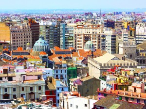 View on Mercado Central from the tower in Valencia, Spain. Aerial view of urban architecture in European city.