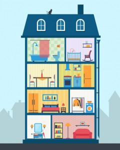 42448563 - house in cut. detailed modern house interior. rooms with furniture. flat style vector illustration.