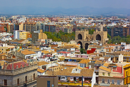 46145693 - view on valencia city from the bell tower. arial view of european city urban architecture